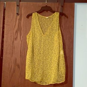 Yellow sheer top with flowers!